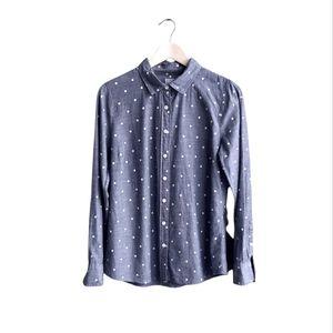 J. Crew Women Polka Dots Denim Shirt Size M